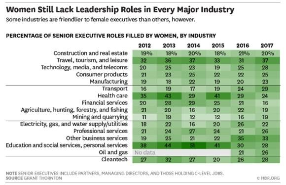 sector difference in female leadership